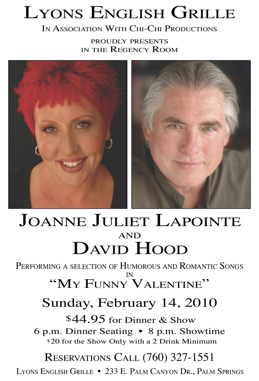 Flyer for Hood/Lapointe Show